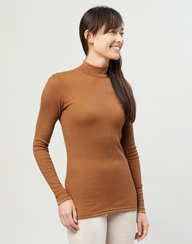 Women's merino wool high neck ribbed top-caramel