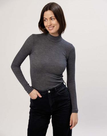 Women's ribbed, high neck merino wool top- dark grey melange