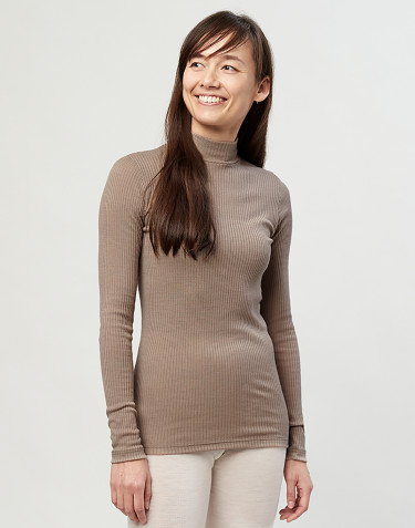 Women's merino wool high neck ribbed top-sand