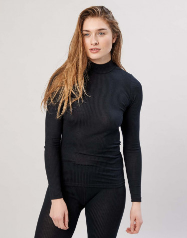 Women's ribbed, high neck merino wool top- black