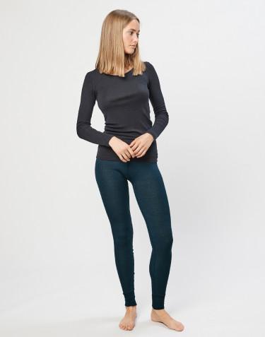 Women's merino wool ribbed leggings- dark petrol blue