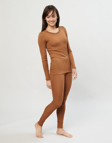 Women's merino wool ribbed leggings- caramel