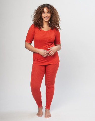 Women's ribbed merino wool leggings- Red