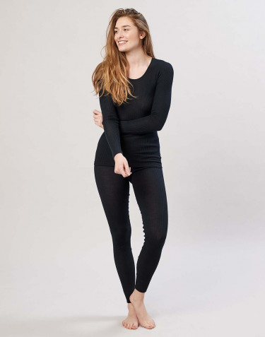 Women's merino wool ribbed leggings- black