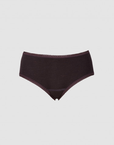 Women's midi merino wool briefs- dark purple