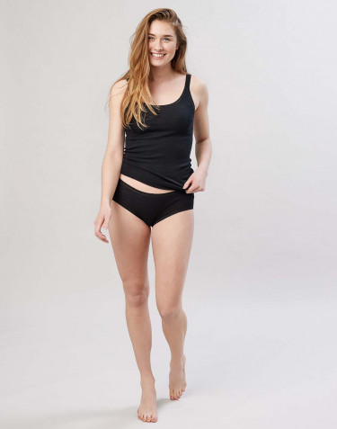 Women's midi merino wool briefs- black