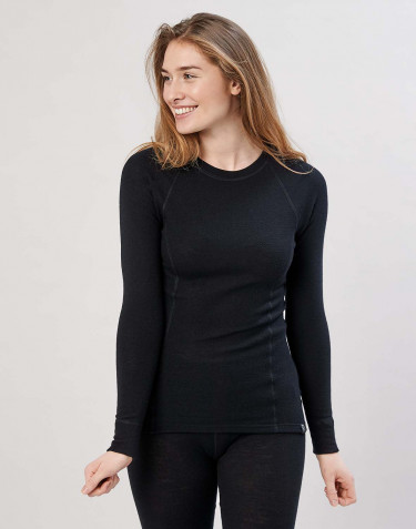 Women's high neck merino wool top- black