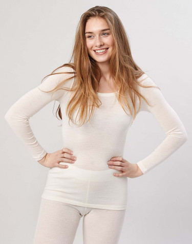 Women's long sleeve merino wool top- nature