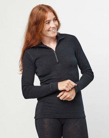 Women's long sleeve merino wool high-neck top with zip- black
