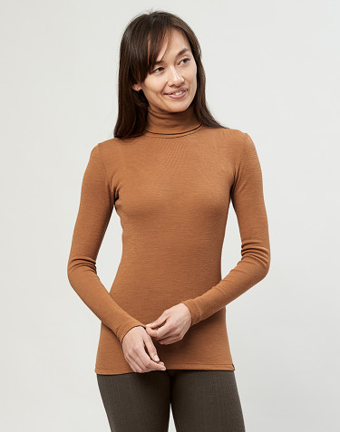 Women's merino roll neck top- Caramel