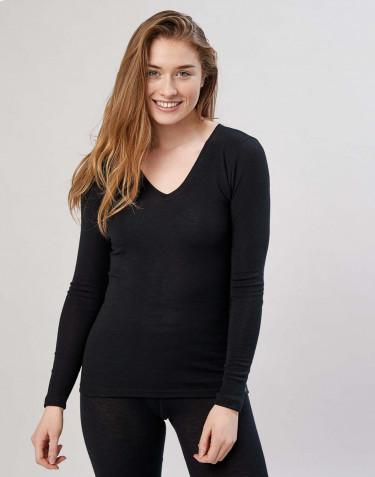 Women's long sleeve V-neck top- Black