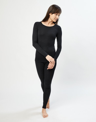 Women's merino wool leggings- black