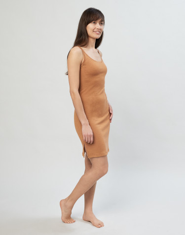 Women's strappy merino wool nightdress- caramel