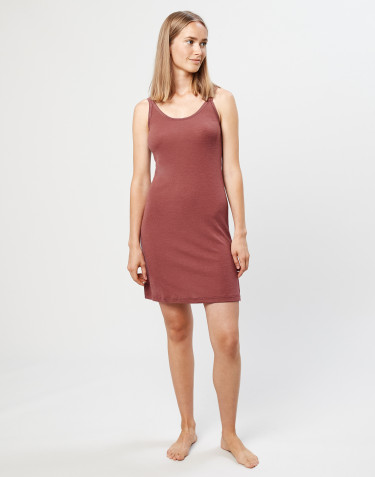 Merino wool strappy dress- rouge