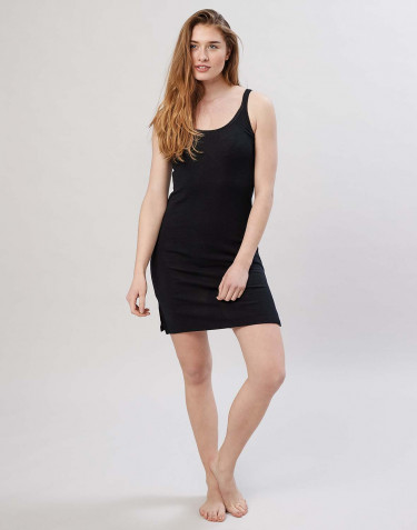 Merino wool strappy dress- Black