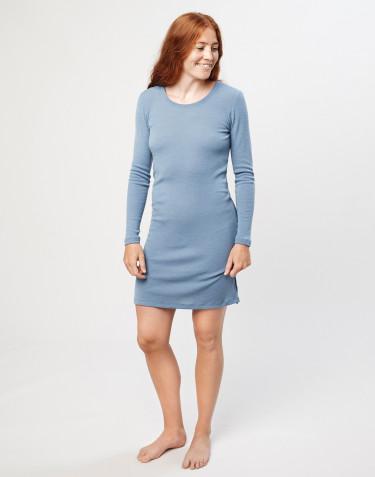 Women's merino wool long sleeve dress- Blue