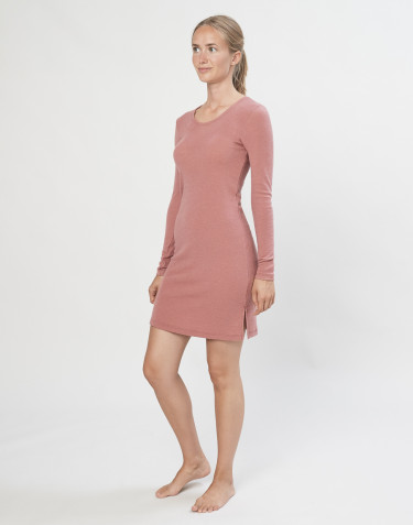 Women's long sleeve merino wool nightdress- Dark Pink