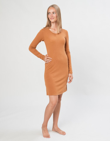 Merino wool long sleeve nightdress-caramel