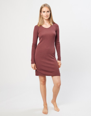 Women's long sleeve merino wool nightdress- rouge