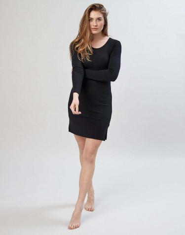 Women's merino wool long sleeve nightdress- black