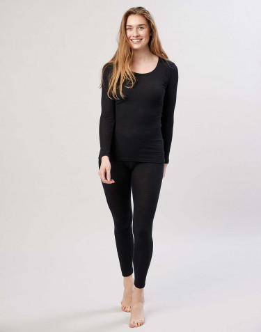 Women's merino wool leggings w. wide elastic band black