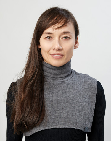 Women's wide rib knit merino wool neckwarmer- dark grey melange