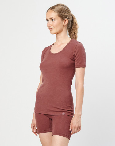 Women's merino wool T-shirt- rouge