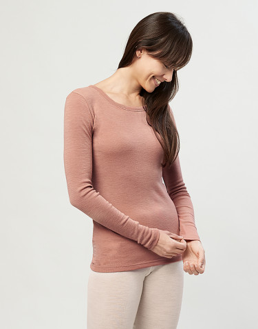 Women's organic merino wool long sleeve top- powder
