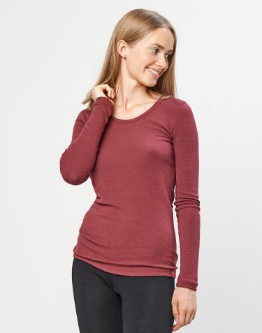 Women's 100% organic merino wool long sleeve top- rouge