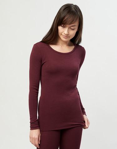 Women's organic merino wool long sleeve top- Christmas red