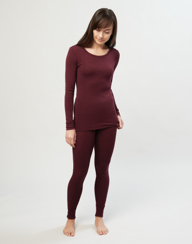 Women's merino wool leggings-christmas red
