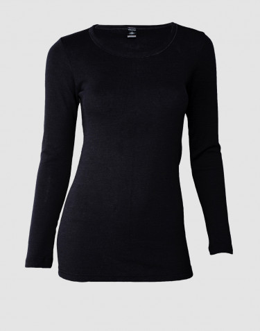 DILLING women's plus size long sleeve merino wool top- black