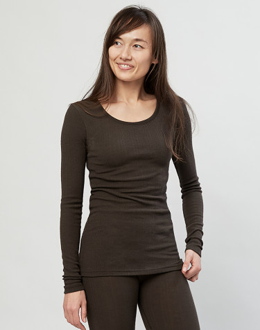 Women's ribbed merino wool sweater- Dark Chocolate