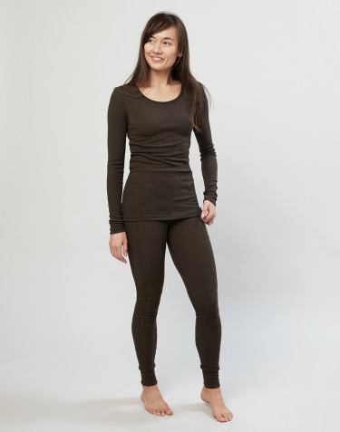 Women's merino wool leggings- Dark Chocolate