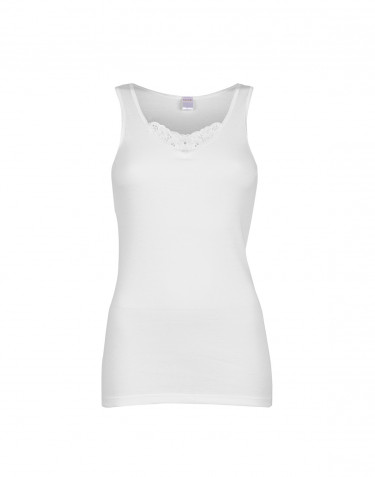 DILLING women's plus size cotton tank top- white