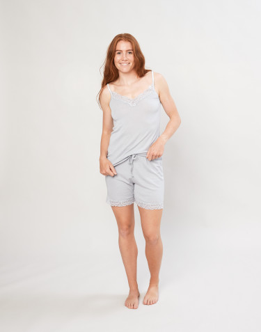 Women's organic wool/silk pyjama shorts- grey
