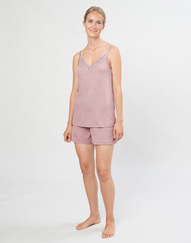 Women's natural wool/silk bed shorts- Pastel Pink