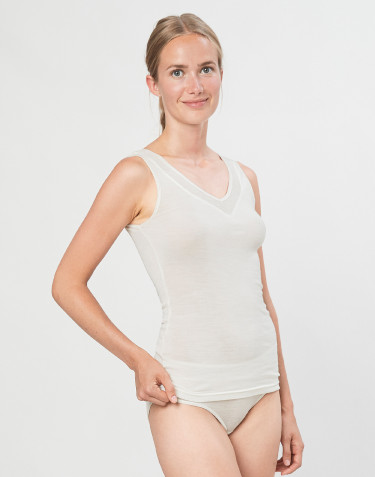 Women's wool/silk tank top- nature