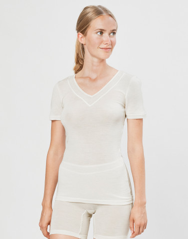 Women's wool/silk T-shirt- nature