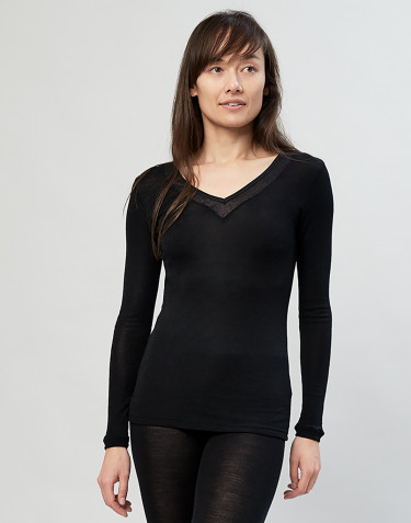 Women's lace trim wool/silk- black