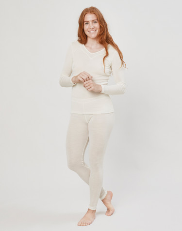 Women's wool/silk leggings- nature