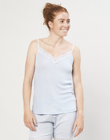 Women's wool/silk pyjama top- light blue
