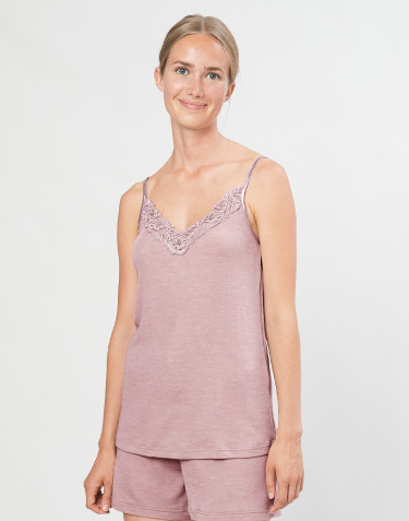 Women's natural wool/silk lace tank top- Pastel Pink