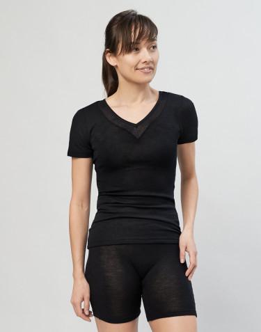 Women's wool/silk T-shirt- black
