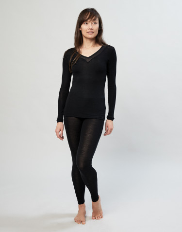 Women's wool/silk leggings- black