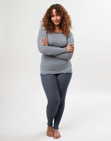Women's merino wool/silk leggings with frilled edges