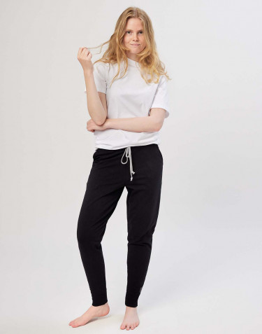 Women's cotton jogging bottoms- black