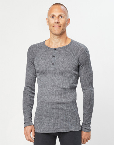 Men's ribbed button neck merino wool top dark- grey melange
