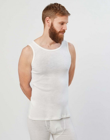 Men's merino wool tank top- nature
