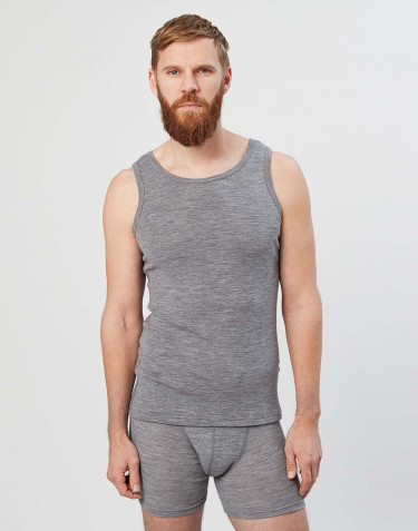 Men's merino wool tank top- grey melange